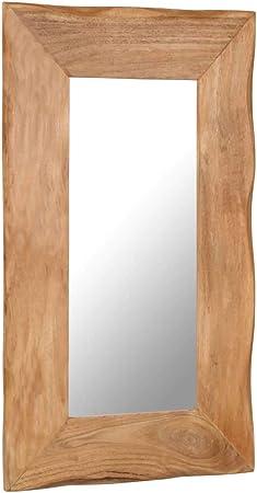 ROMELAREU Espejo para Maquillaje de Madera Maciza de Acacia 50x80 cmCasa y jardín Decoración Espejos: Amazon.es: Hogar