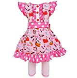 AnnLoren Girls sz 7/8 Cotton Makeup Accessories Dress & Legging Outfit