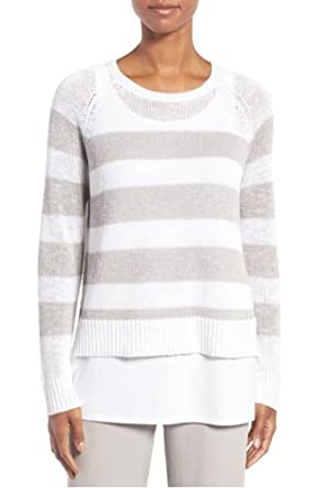 29f0b035896405 Image Unavailable. Image not available for. Color  Eileen Fisher Slub Stripe  Organic Linen   Cotton White Crew Neck Sweater Top - XL