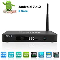 Zoomtak TV BOX Octa Core 64Bit 2GB Ram 16GB Rom Android 7.1 Smart TV BOX 2.4G/5.8G Wi-Fi Bluetooth 4.0 H.265 HD 4K -Aluminum Shell
