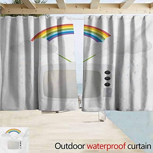 AndyTours Window Curtains,Vintage Rainbow Old TV with Raining Clouds on Antennas Broadcast Entertainment Technology,Draft Blocking Draperies,W55x39L Inches,Multicolor