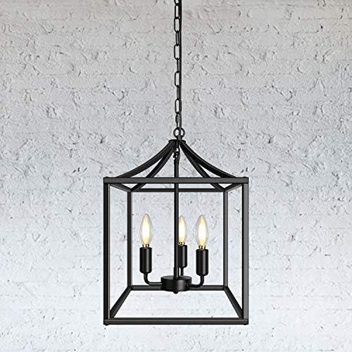 3-Light Black Farmhouse Pendant Lighting Fixture Square Industrial Chandelier Ceiling Light