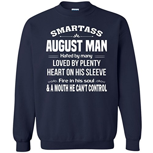 VADOBA Smartass August Man Hated by Many, Funny August Birthday Man Sweatshirt (L,Navy) (Amazon By Sold Mens Clothing)