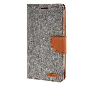 MOONCASE Denim Leather Card Slot Flip Wallet Bracket Back Case Cover for ASUS ASUS Zenfone 2 5.5 inch ZE550ML / ZE551ML Grey