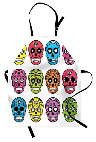 Lunarable Skull Apron, Ornate Colorful Traditional Mexian Halloween Skull Dead Humor Folk Art Print, Unisex Kitchen Bib Apron with Adjustable Neck for Cooking Baking Gardening, Multicolor -