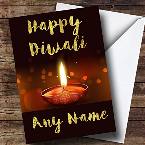 Cards Diwali (Golden Brown Candle Personalized Diwali Greetings Card)