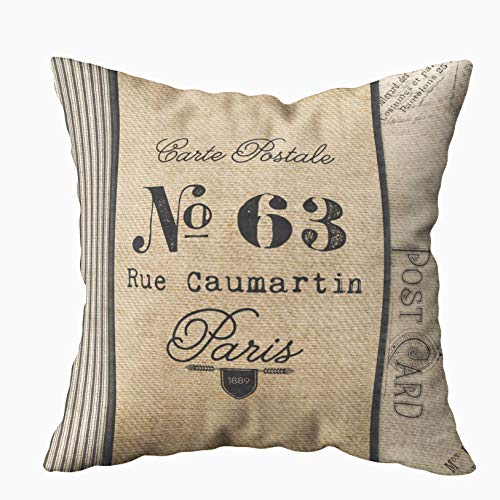 Musesh burlap vintage postage french country quote Cushions Case Throw Pillow Cover For Sofa Home Decorative Pillowslip Gift Ideas Household Pillowcase Zippered Pillow Covers 20X20Inch -