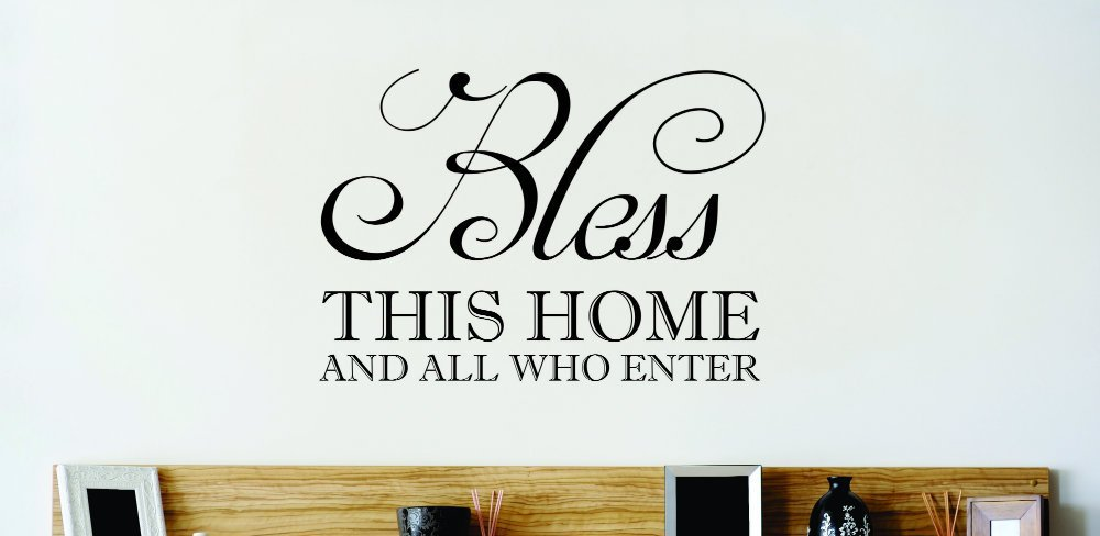 Design with Vinyl Zzz 489 1 Decor Item Bless This Home and All Who Enter Family Bible Quote Wall Sticker Decal 12 Inch x 12 Inch Black