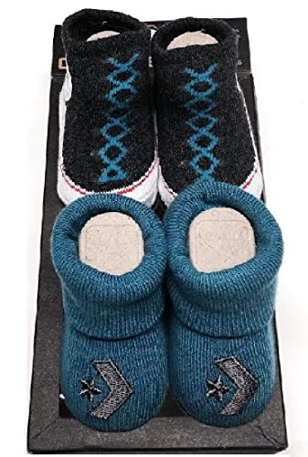 Converse 2 Pair Infant Blue & Grey Booties Socks Size 0-6M Gift Box - Baby Converse Shoes Size 1