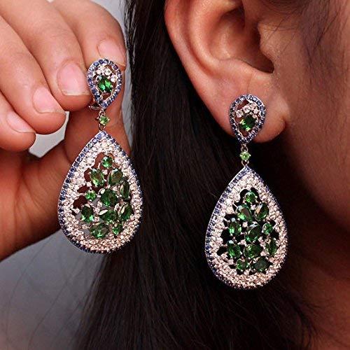 (Blue & White Sapphire Green Garnet Drop Dangle Earrings Pave Diamond 14k White Gold Gemstone Fine Jewelry New Arrivals for Christmas)