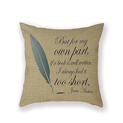 Customized Standard New Arrival Pillowcase Jane Austen Austen Librarian Literature Throw Pillow 18 X 18 Square Cotton Linen Pillowcase Cover Cushion