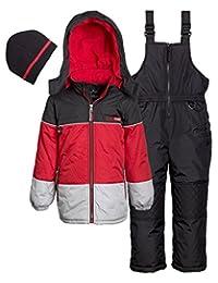 Ixtreme Little Boys Down Alternative Heavy Skiing Snowsuit Jacket Bib Bonus Hat, Black, 3T