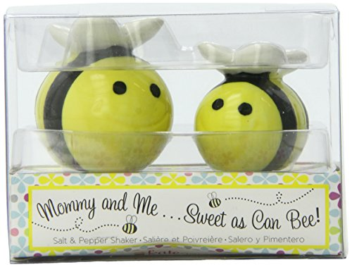 Kate Aspen Mommy and Me Sweet as Can Bee Ceramic Honeybee Salt and Pepper Shakers ()