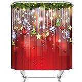 Pillowcase Xmas Curtain for the Shower 150 X 180cm, Fashionable Christmas Bathroom Decor Custom Merry Christmas Fabric Waterproof Bathroom Shower Curtain with 12 Hooks