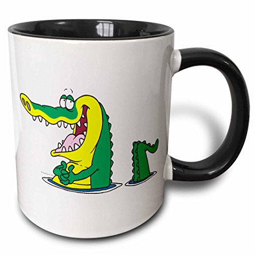 3dRose 104319_4 Silly Alligator Crocodile Cartoon Character Two Tone Mug, 11 oz, Black/White