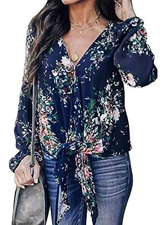 Tiksawon Women's Floral Print V Neck Long Sleeve Shirts Tops Casual Loose Boho Blouses - Blue - (US4-6) Small