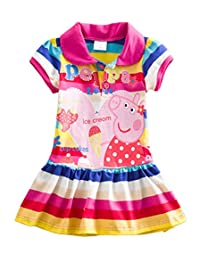 LEMONBABY Little Girls' Summer Peppa Pig Dress,lapel Rainbow Color 1-6y