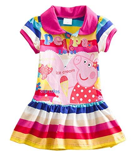 (Little Girls Summer Peppa Pig Lapel Rainbow Color Dress (Rainbow, 5-6Y))