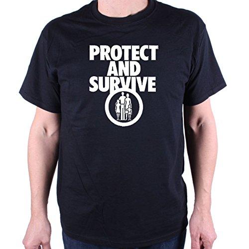 Herren Old Skool Hooligans Protect & Survive T Shirt