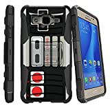 MINITURTLE Case Compatible w/Samsung Galaxy On5 (SM-G550) Case with Kickstand + Belt Clip Combo [Slim Heavy Duty Protection][Air Cushion Technology] – Game Controller Retro