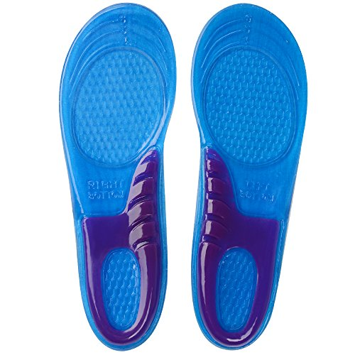 SOUMIT Sport Footwear - Soft Silicone Gel Foot Insoles, Antibacteral Massage Shoe Pads for Running Walking Hiking Pain Relief (Unisex, EU39-42/ UK6.5-8)