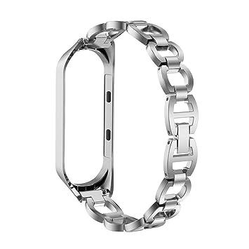 Skryo👍👍 Estilo de cadena de acero inoxidable Pulsera Correa de reloj elegante para Xiaomi Mi Band 3 (Silver)
