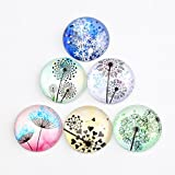 SHUNAE Round Pattern Dandelion Print Dome Glass Cabochons with Flat Back Tiles for Crafts 50pcs (25mm (50pcs))