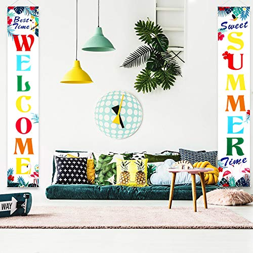 (Summer Party Supply Hawaiian Summer Party Decorations Welcome Summer Banner Summer Porch Sign Pool Beach Barbecue Hawaiian Party Decor Supplies Banner Hanging Decoration)