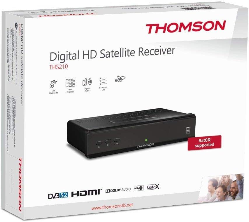 THOMSON THS210 DVB-S2 receptor de satélite (HDTV, SatCR, USB reproductor, Audio digital, Audio análogo, SCART, HDMI) negro: Amazon.es: Electrónica