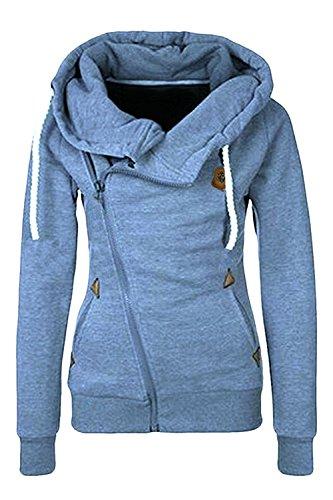 Kainstinhoa Women's Oblique Zip Up Long Sleeve Cotton Fleeces Hoodie Jacket Coat...