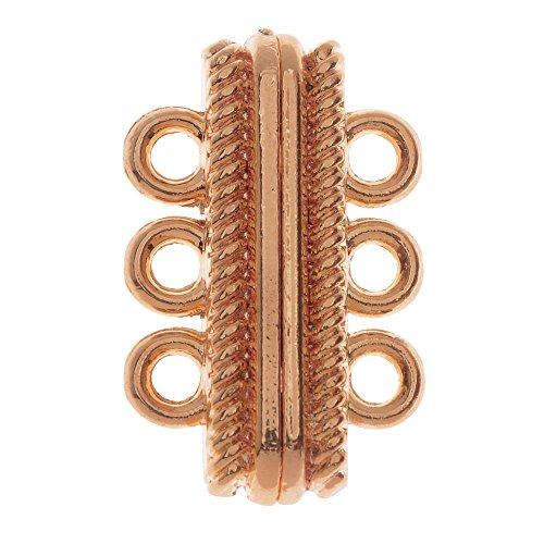 Magnetic Clasp, 3-Strand Oval with Rope Edge 27x17mm, 1 Set, Rose Gold Tone