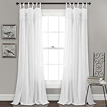 Amazon Com Lush Decor Reyna White Window Panel Curtain