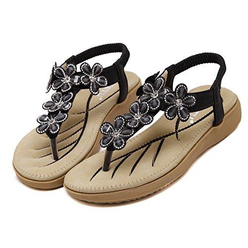 Minetom Mujer Verano Moda Dedo Del Pie Clip Sandalias Bohemia Floral Diamante De Imitación Chanclas Plana Zapatos Zapatillas Negro