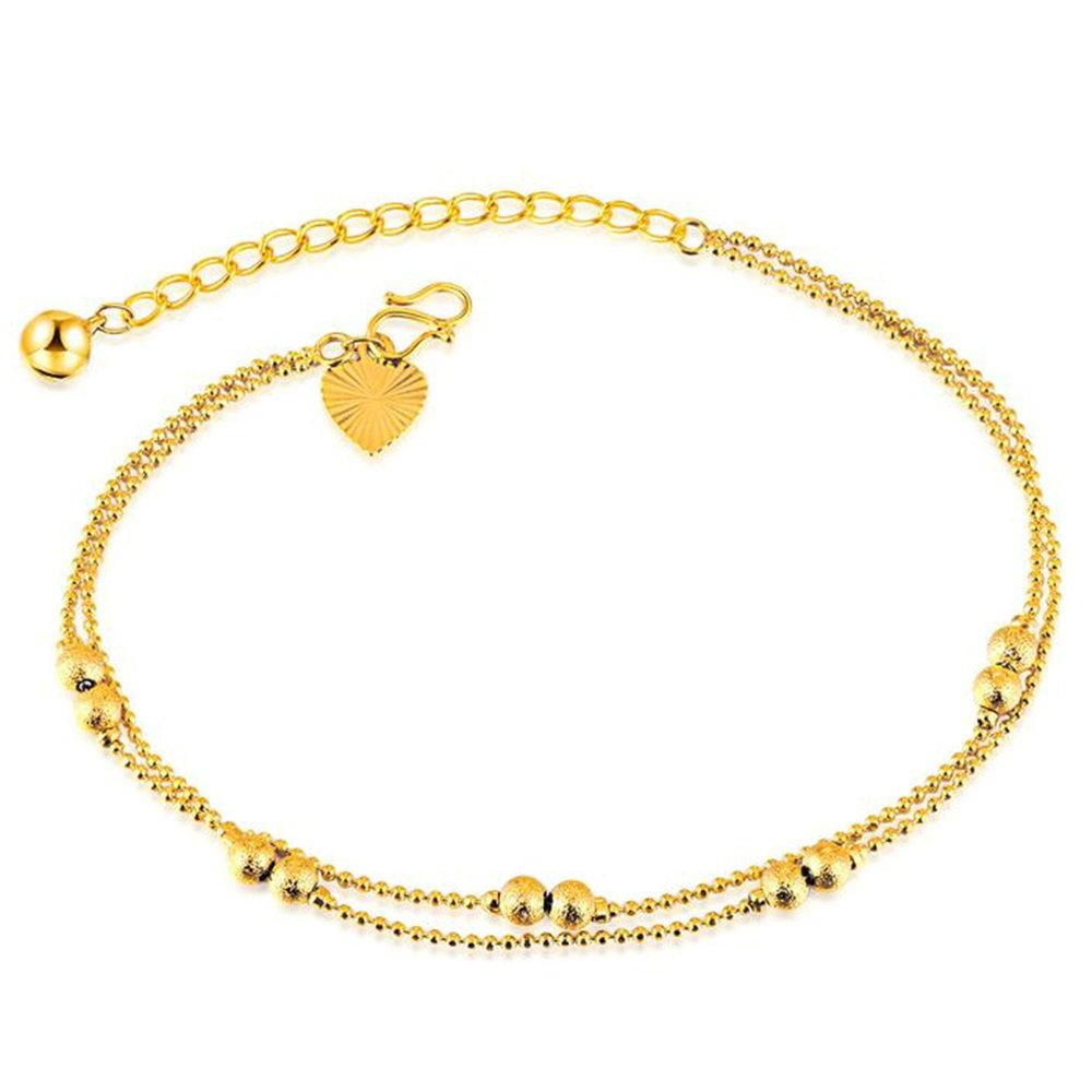 Onefeart 18K Gold Plated Anklet for Women Girls Double Layer Foot Chain Wedding Gifts 25CM Gold