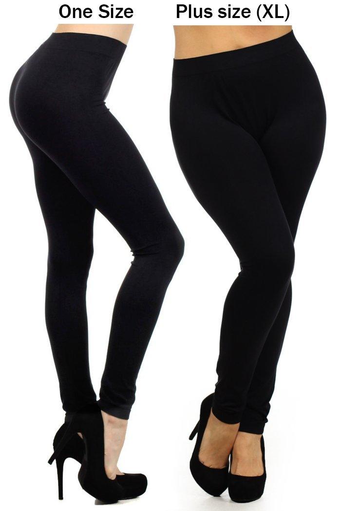 fashion MIC Women's High Waist Nylon Seamless Leggings (Regular, Black)