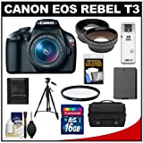 Canon EOS Rebel T3 Digital SLR Camera Body & EF-S 18-55mm IS II Lens with 16GB Card + .45x Wide Angle & 2x Telephoto Lenses + Battery + Filter + Tripod + Accessory Kit