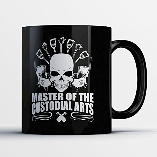 Janitor Coffee Mug - Master Of The Custodial Art - Funny 11 oz Black Ceramic Tea Cup - Cute Janitor Gifts with Janitor (Do It Yourself Halloween Costumes For Guys)