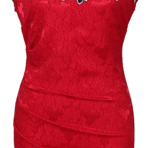 Vintage Rosa Manga Lápiz WanYang Donna Vestido Vestido De Corta Encaje Mujer qwx1I6O