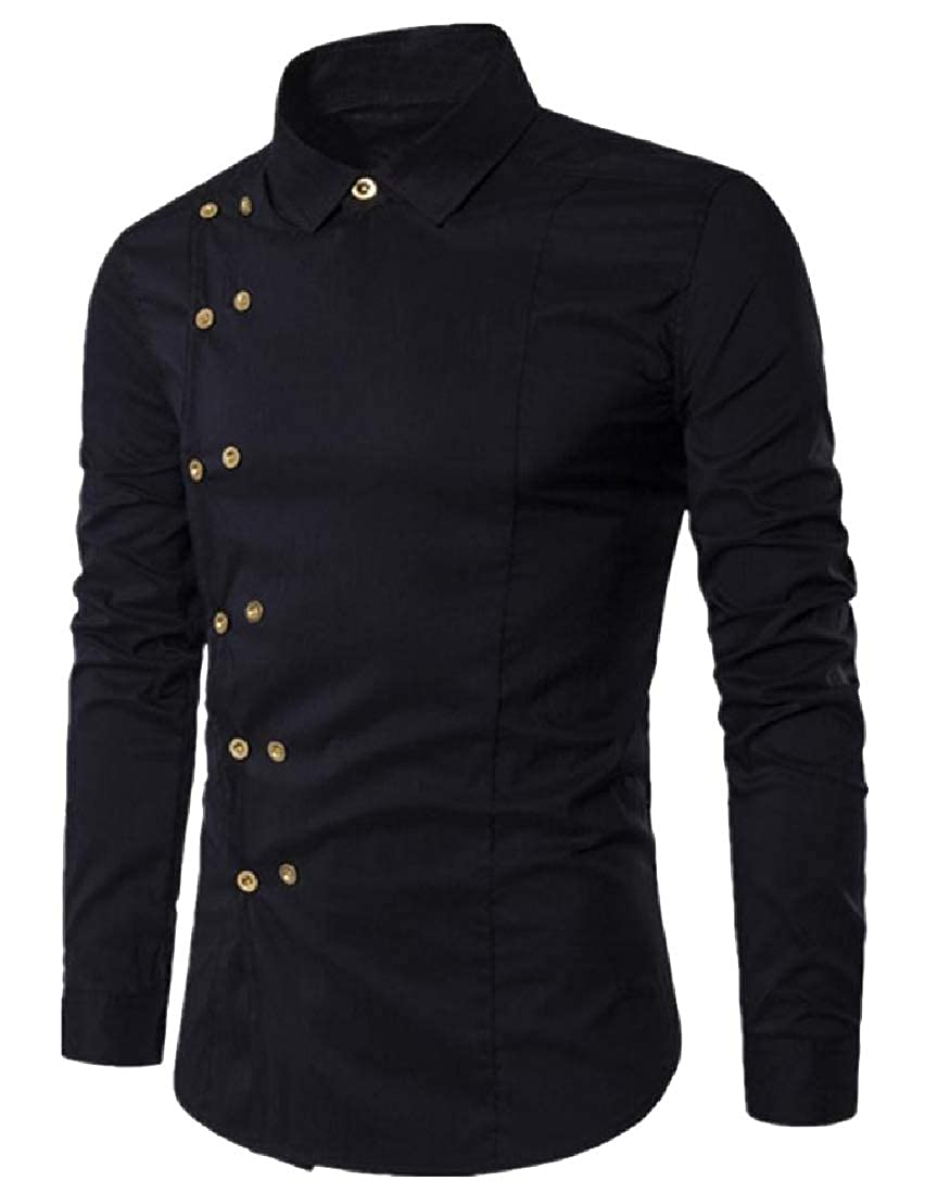 Vska Mens Casual Loose Double-Breasted Fashion Outdoor Shirt