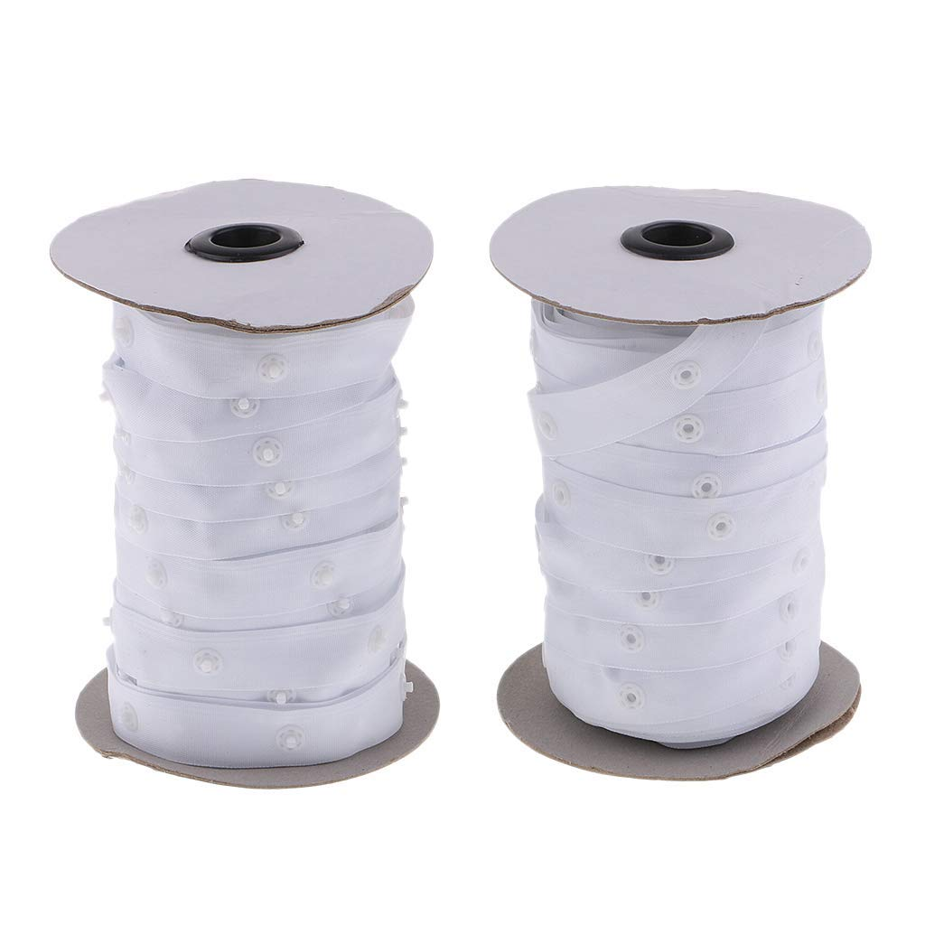 2 Rolls Sewing Snap Fastener Tape Snap Polyester Ribbon Fasteners for Sewing - White by KODORIA