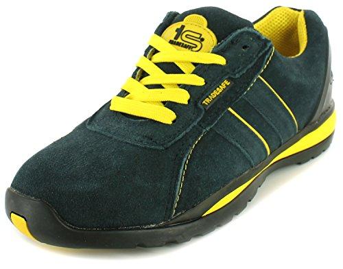 NEU Herren / Herren Marineblau Tradesafe Veloursleder Stahlkappe Schuhe Marineblau/gelb - UK Größen 3-13