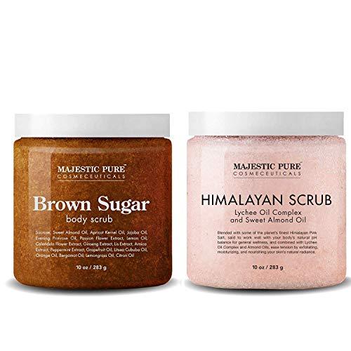 Majestic Pure Himalayan Salt Body Scrub & Brown Sugar Scrub Set – All Natural Scrubs for Skin Care – Exfoliate and…