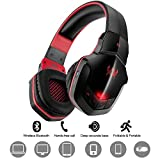Wireless Gaming Headset DIWUER Bluetooth V4.1 Over-ear Headphone with Mic for PC Tablet iPhone iPad Samsung Smartphone Laptop(Black Red)