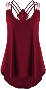 Blusa Sexy Mujer de Verano, Camisetas sin Mangas con Tirantes de Mujeres Tops sin Mangas del Chaleco de Vendajes de señoras Tank Top Camiseta Camisola Cami Tops Camisas Casual Blusas Tops T-Shirt: