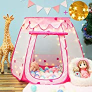 crayline Pink Princess for one Year Old Girl Gift Tent Indoor and Outdoor Children Game Play Toys Tent (Balls