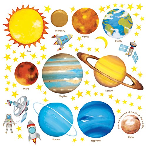 Removable Stickers Wall Giant - Decowall DS-8007 Planets in The Space Kids Wall Stickers Wall Decals Peel and Stick Removable Wall Stickers for Kids Nursery Bedroom Living Room (Small)