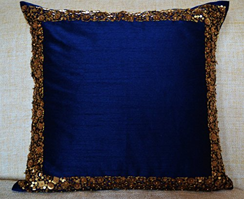 Amore Beaute Handcrafted Beaded Throw Pillow Covers - Navy Blue Cushion Cover with Gold Sequin and Beads Details - Decorative Pillow Cover - Navy Blue Cushion Covers - Gold Sequin Bead Pillow Cover - Regal Metallic Cushion Cover (26x26)