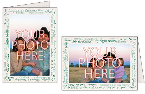 - Photographer's Edge, Photo Insert Card, Natural with Holiday Greetings Border, Set of 10 for 4x6 Photos