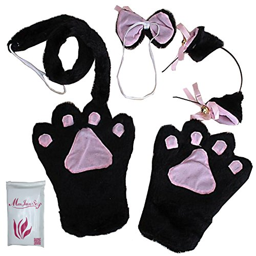 Hot Black Cat Costume (Cat Cosplay Anime Convention Fancy Costume Lolita Headband Gloves Tail Bow Tie)