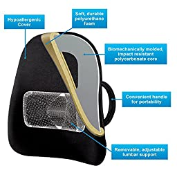 Obus Forme Ergonomic Lowback Backrest Support & FREE GIFT!- Helps Relieve Back Pain- Great for Travel & Home / Office/Car/Seat & Wheelchair- Adj Lumbar Cushion– Sciatica Relief- Portable & Comfortable